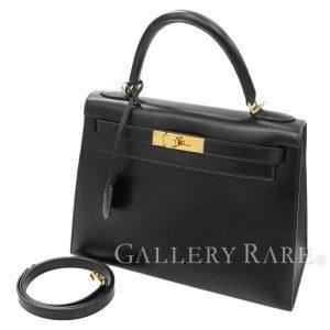 ケリー28 外縫い ブラック×ゴールド金具 ボックスカーフ G刻印