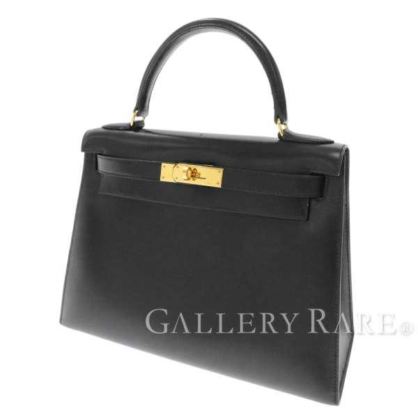 ケリー28 外縫い ブラック×ゴールド金具 ボックスカーフ A刻印