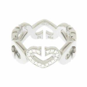Cハート ハートシンボル ダイヤモンド ホワイトゴールド サイズ52