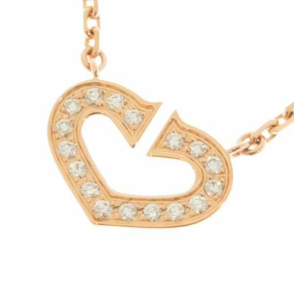 Cハートネックレス シンボル ダイヤモンド K18PGピンクゴールド