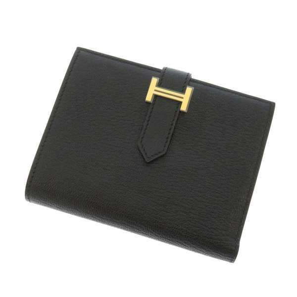 ベアンコンパクト 黒 シェーブル ゴールド金具 D刻印