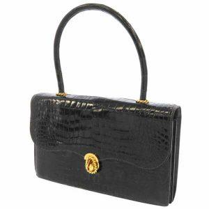 ヴィンテージエルメスを楽しむ!最高級クロコダイル ポロサス革で作られたハンドバッグ!アンティークな雰囲気を醸し出す特徴的な縄モチーフ金具もポイント!