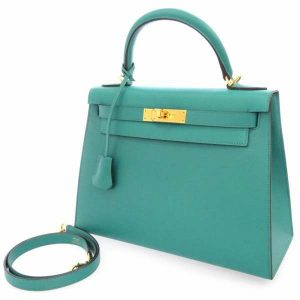 定番カラーじゃ物足りない!目が覚めるような エメラルドブルーのハンドバッグ!ケリー28 プルーパオン×ゴールド金具は入手困難なレアアイテム