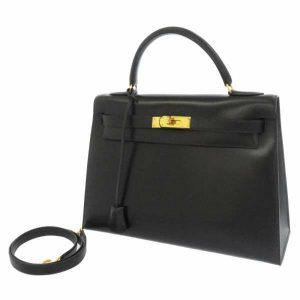 エルメス ハンドバッグ ケリー32 外縫い ネイビー ボックスカーフ