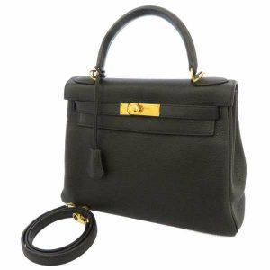 エルメス ハンドバッグ ケリー28 内縫い ブラック/ゴールド金具 トリヨン