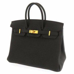 エルメス バーキン25 ブラック/ゴールド金具 トゴ ハンドバッグ